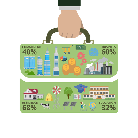 residence: Flat style thematic way to success infographics concept. Businessman hand hold briefcase shape info graphic. Commercial business residence education. Conceptual web site infographic collection.