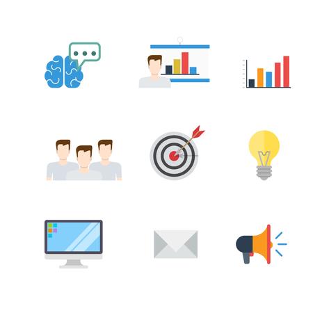 target thinking: Flat creative digital marketing PR SEO infographic target email promotion conceptual vector icon set. Brain idea thinking brainstorming report man white board graphic team aim arrow lamp loudspeaker.