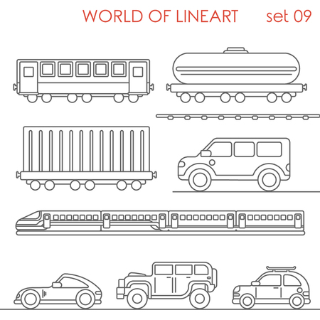 cistern: Transport railroad road wagon cistern container graphical lineart hipster set. Line art collection.
