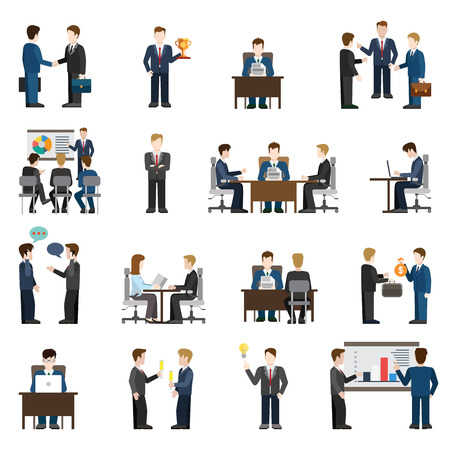 discussion meeting: Flat style modern business situations businessmen people big icon set. Meeting success report training manager operator chat investment support discussion session idea workplace reception negotiations