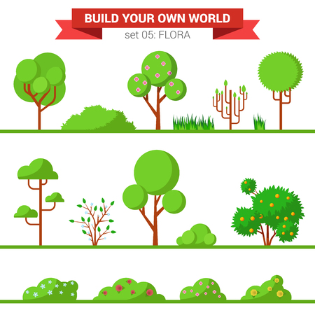 tree grass: Flat style flora plant tree bush grass nature objects icon set. Build your own world collection.