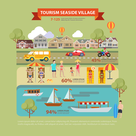 Flat style thematic seaside village tourism infographics concept. Countryside beach vacation people lounge info graphic. Conceptual web site infographic collection.