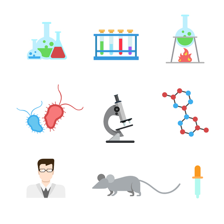 lab test: Flat style modern laboratory research experiment web app concept icon set. Lab mouse flask beaker test tube heater microbe microscope DNA molecule doctor pipette dropper. Website icons collection. Illustration