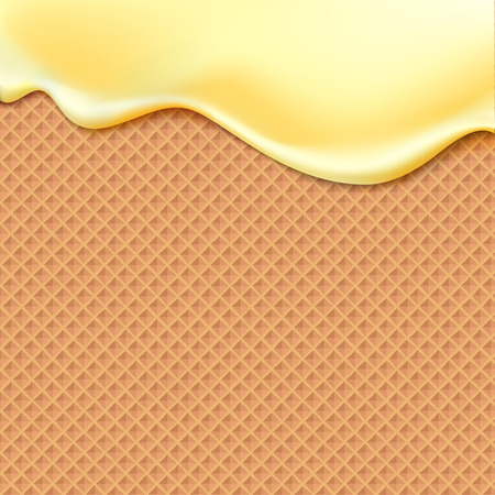 waffle ice cream: Flowing yellow glaze on wafer texture sweet food vector background abstract. Melt icing ice cream on waffle seamless pattern. Editable - Easy change colors.