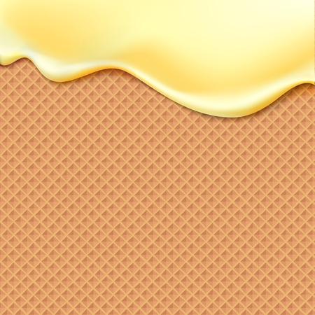 helado de chocolate: Fluyendo esmalte de color amarillo en la oblea textura de los alimentos dulces vector de fondo abstracto. Derretir el helado guinda modelo inconsútil de la galleta. Editables - Fácil cambio de colores.
