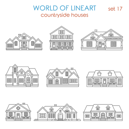 country house style: Architecture countryside house townhouse graphical line art style icon set. World of lineart collection.