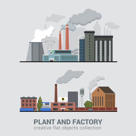 Flat style modern multi color set of stylish pollutive heavy industry plant factory manufacture buildings production business process. Eco unfriendly hostile atmosphere pollution chimney smoke concept Illustration