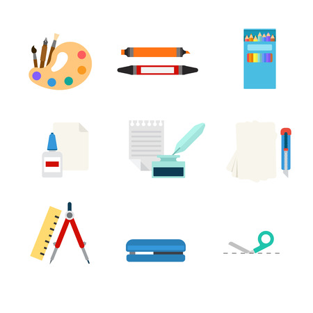 art pen: Flat style modern stationery tools web app concept icon set. Art paint palette marker pencil paper glue ink feather pen cutter knife compasses divider stapler cutting line. Website icons collection. Illustration