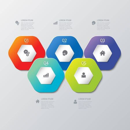 honey cell: Simple multicolor 5 step honey cell honeycomb hexagonal process steps labels infographics mockup template. Infographic background concepts collection.
