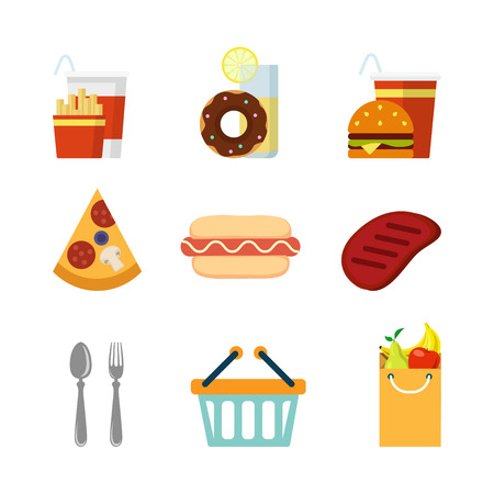 fast meal: Flat creative style restaurant fast food food shopping modern infographic vector icon set. Fries cola donut lemonade burger pizza hot dog steak spoon fork cart bag vegetable. Meal icons collection.
