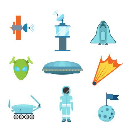 Vlakke stijl moderne ruimte vreemde voorwerpen web app-concept icon set. Satelliet Mission Control Centre Tower ruimteschip shuttle UFO komeet astronaut kostuum planeet onderzoek voertuig. Website iconen collectie.