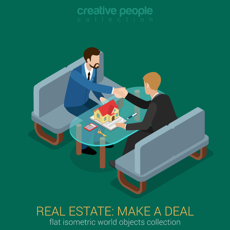 real people: Flat 3d web isometric real estate make deal contract handshake to succeed infographic concept vector. Realty manager client customer handshake. Creative people collection.