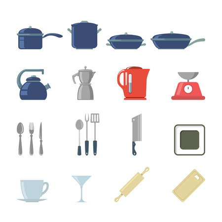creative tools: Flat creative style modern cookware kitchen tools infographic vector icon set. Coffee maker frying pan pot kettle scales glass rolling pin plate dish cutlery knife goblet. Objects icons collection.