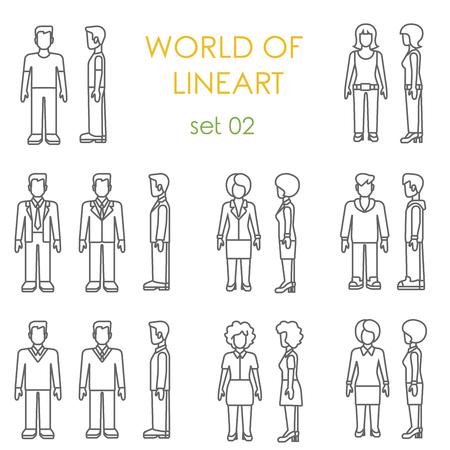 simbolo de la mujer: Iconos de la gente conjunto de lineas de �ltima moda gr�fica. colecci�n de arte de l�nea.