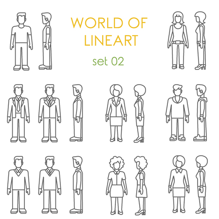 graphical: People icons graphical lineart hipster set. Line art collection.