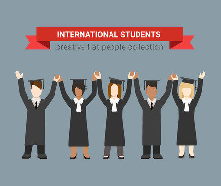 chineese: Flat style modern people icons education knowledge school university college international multicultural graduate students web template infographic vector. Graduates in uniform holding hands.