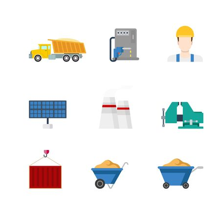 clutches: Flat creative style modern heavy industry infographics vector icon set. Truck gas refill station builder sun battery panel chimney vises clutches wheelbarrow container. Construction icons collection. Illustration