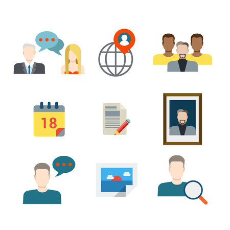 social icon: Flat style modern business chat social media network sharing communication web app concept icon set. People profile avatar picture calendar schedule mobile application. Website icons collection.