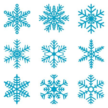 isolated: Snowflake isolated decoration vector icon set