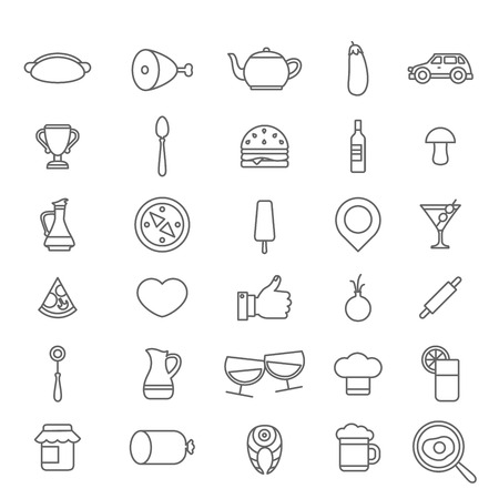 linear art: Line art style flat graphical set of web site mobile interface cafe restaurant fastfood pizzeria locator booking rating app icons pack. Hot dog tea burger wine beer cocktail. Lineart world collection. Illustration