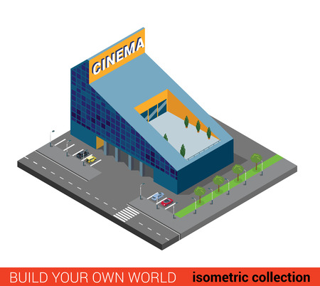 building block: Flat 3d isometric modern glass cinema building block infographic concept. Entertainment theater with parking. Build your own infographics world collection.