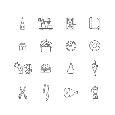 veal: Kitchen stuff Cooking and Food icons lineart design vector set: Champagne, Coffee machine, Jam, Pan, Donut, Cow, Sandwich, Sugar, Weights, Scissors, Hatchet, Ham, Leg of veal, Mixer. Line art outline.