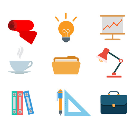 tea lamp: Flat style modern office tools web app concept icon set. Tie idea table lamp whiteboard report chart graphic cup tea coffee folder briefcase pen triangle ruler. Website icons collection. Illustration