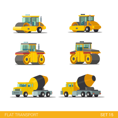 Flat isometric style modern construction site industrial building tracked vehicles transport web app icon set concept. Concrete cement mixer roll roller rink truck. Build your own world collection. Vektorové ilustrace