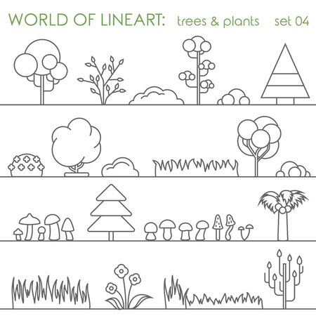 lineart: Tree natural plant graphical lineart hipster set. Line art collection.