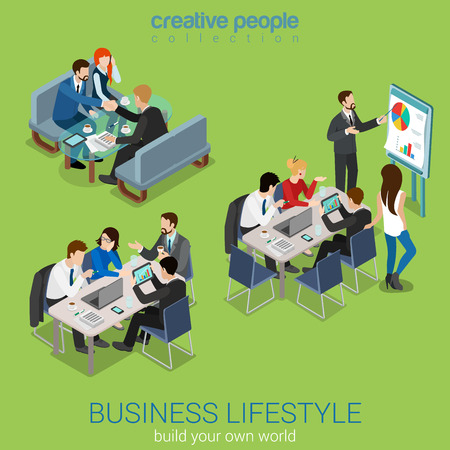 Flat 3d web isometric office meeting room report business collaboration teamwork brainstorming negotiation infographic concept interior vector set. Businessmen around table. Creative people collection Stock Illustratie