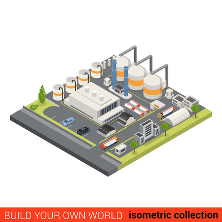 Flat 3d isometric oil refinery building block infographic concept. Heavy industry processing plant chimney gas petroleum cistern. Build your own infographics world collection. Ilustração