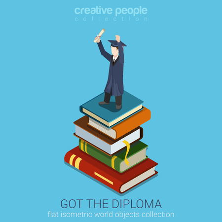 hold high: Student Holds Diploma in raised Hand standing on stack of big Books vector flat isometric style illustration. Education Graduation concept. Flat world collection.