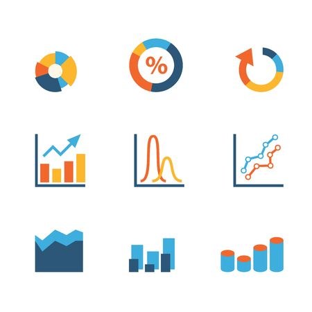 statistics icon: Flat creative style modern infographic data stats graphic web vector icon set. Pie chart bar area cone line percent graphics. Business finance statistics website icons collection.