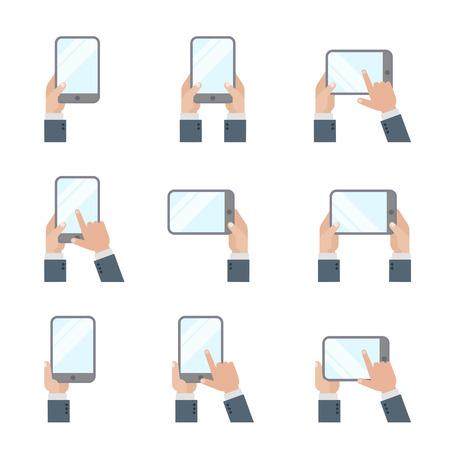 손에 들고 Tablet PC 스마트 폰 손 터치 스크린 아이콘 평면 스타일 휴대 전화 및 디지털 태블릿 제스처 징후. 일러스트
