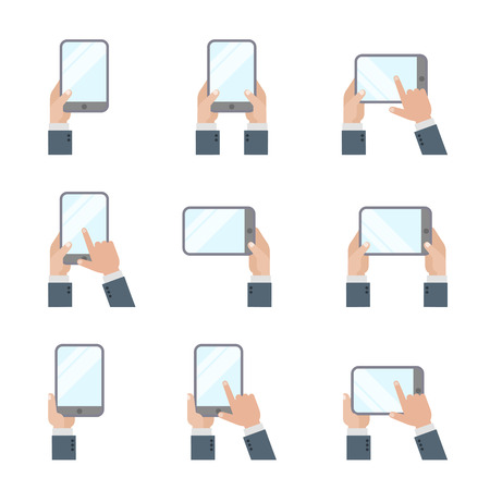 Hands holding Tablet PC Smartphone Hand Touching Screen Icons Flat style Mobile Phone and Digital Tablet gestures signs.