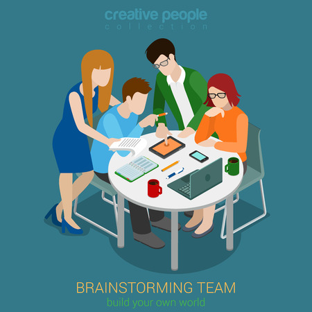 Brainstorming creative team people flat 3d web isometric infographic concept vector. Advertising agency app development process. Teamwork around table laptop chief art director designer programmer