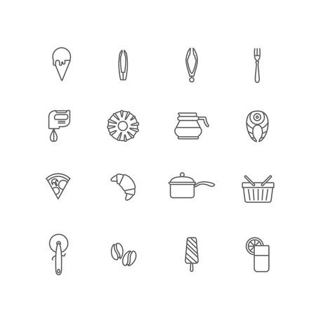 ice tongs: Food icons lineart design vector set: ice cream, spoon, tongs, mixer, donut, coffee pot, salmon, pizza, croissant, pan, shopping basket, ice cream, coffee beans, glass of fresh orange juice. Line art.