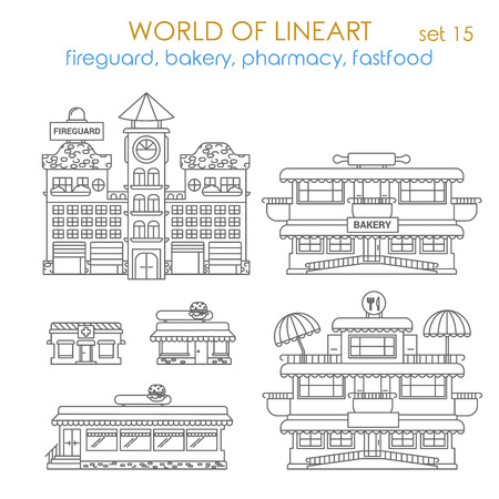 linear art: Architecture city public business estate building fireguard bakery pharmacy fastfood restaurant local business graphical lineart hipster style set. World of line art collection.