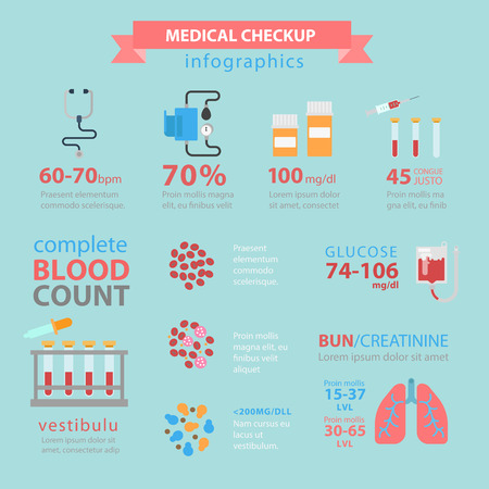 Flat style thematic medical checkup infographics concept. Blood pressure count pills structure lungs bun glucose health care healthy lifestyle info graphic. Conceptual web site infographic collection.