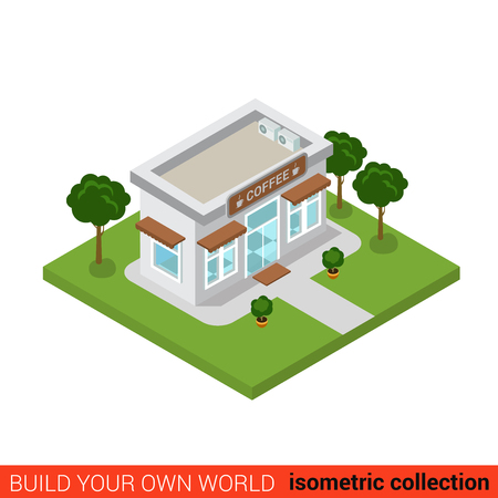 city block: Flat 3d isometric coffee shop cafe restaurant house building block infographic concept. Build your own infographics world collection