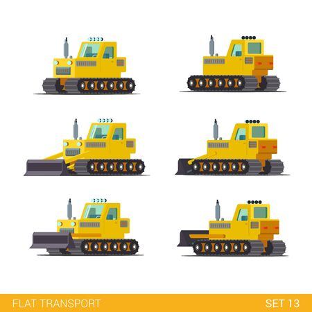 industrial construction: Flat isometric style modern construction site industrial building tracked vehicles transport web app icon set concept. Tractor motor grader. Build your own world collection. Illustration