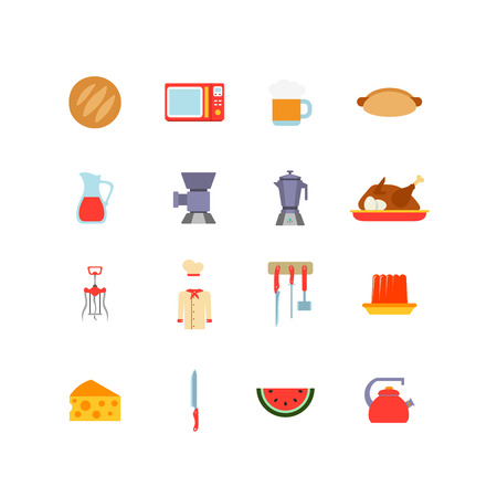 mincer: Kitchen stuff Cooking and Food icons flat design vector set: bread, microwave, mug of beer, hot dog, carafe, mincer, percolator, roast turkey, corkscrew, dinnerware, jelly, cheese, knife, teapot Illustration