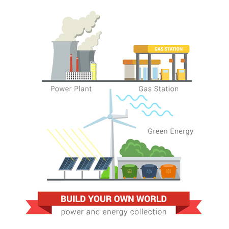 energetics: Flat style set of power eco friendly green energy concept icons. Power plant chimney smoky smog gas refill station sun battery wind mill separate waste collection. Creative energetics collection. Illustration