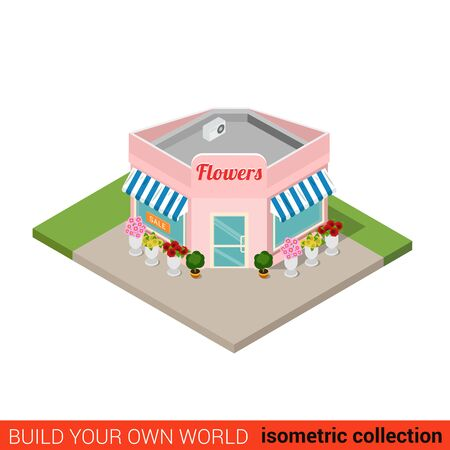 building block: Flat 3d isometric flower shop building block infographic concept. Street corner flowers sales point. Build your own infographics world collection. Illustration