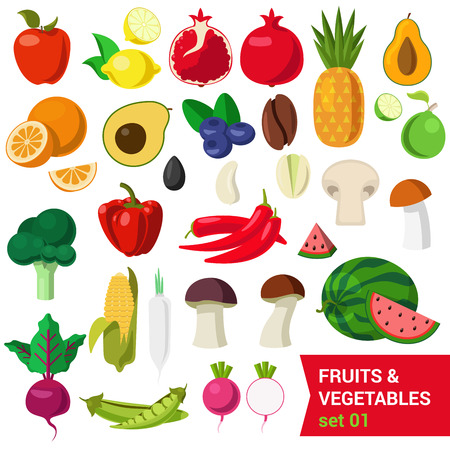 beets: Flat style fancy quality set of fruit and vegetable set. Apple lemon pomegranate pineapple avocado orange plum coffee bean mushroom lime melon corn peas beets celery sprouts. Creative food collection.