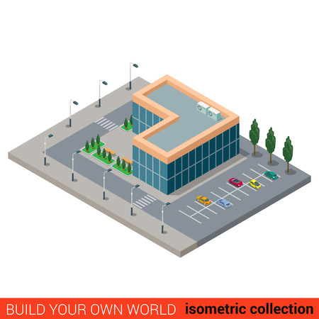 office block: Flat 3d isometric city office parking glass building block infographic concept. Build your own infographics world collection.