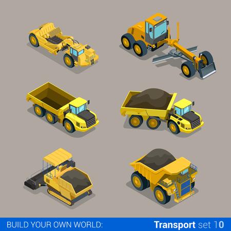 플랫 3d 아이소 메트릭 스타일 현대 도로 고속도로 서피스 만들기 건설 사이트 바퀴가 달린 트랙 차량 전송 웹 애플 아이콘 집합 개념. 티퍼 팁 트럭 아