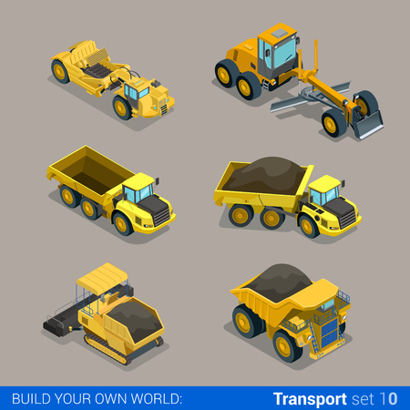 Flat 3d isometric style modern road highway surface making construction site wheeled track vehicles transport web app icon set concept. Tipper tip truck asphalt paver paving machine combine harvester.