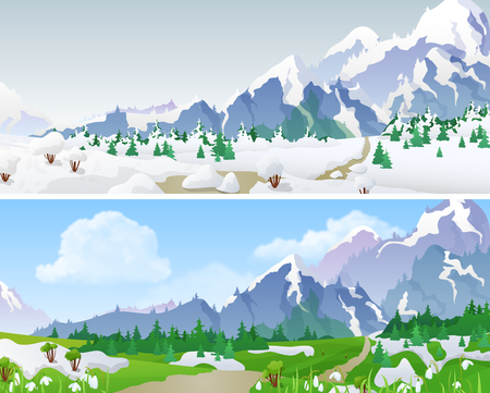 alpine: Hilly mountains Landscape in Seasons: winter, spring. Floral background changing seasons set 04 Illustration