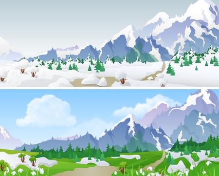 Montagnes Paysage vallonné en Saisons: hiver, printemps. saisons de fond changeant Floral Set 04 Banque d'images - 54635830